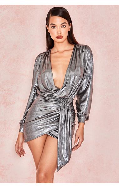 'Alvona' Metallic Silver Drape Mini Dress