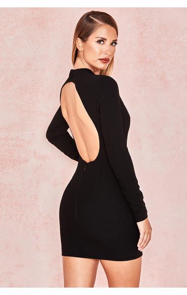 Anine Black Crepe Backless Mini Dress