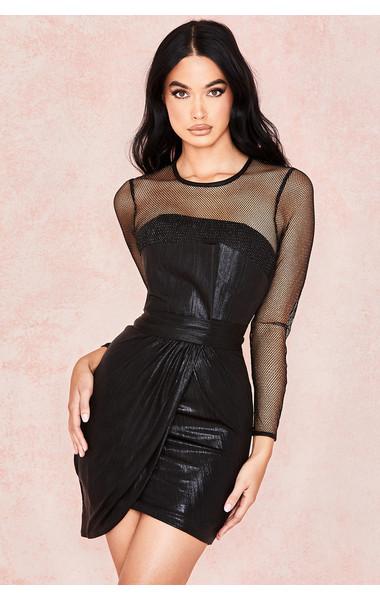 Evangeline Black Metallic Origami Dress