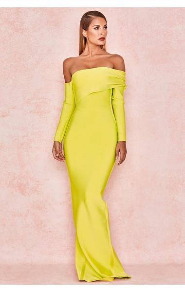 Nalani Chartreuse Draped Shoulder Maxi Bandage Dress