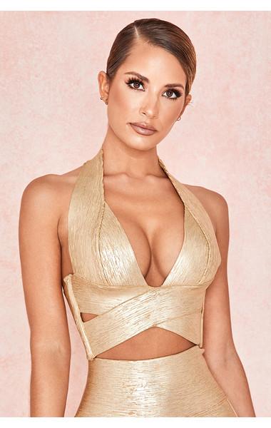 Silvana Gold Foil Criss Cross Bandage Top