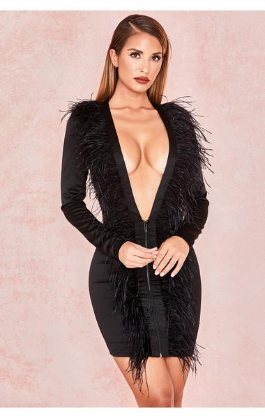 Tara Black Satin Feather Front Extreme Plunge Dress