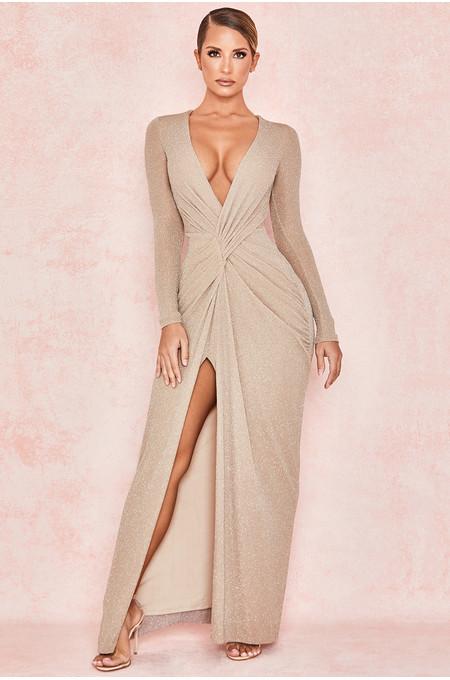 Alyssa Champagne Lurex Twist Front Maxi Dress