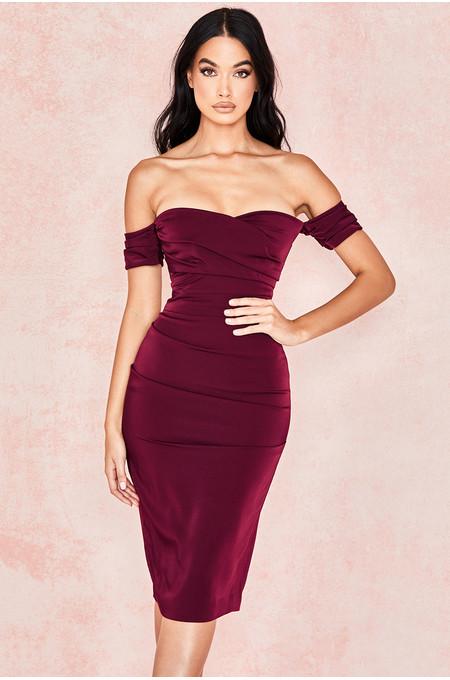 Anaelle Wine Crepe Off Shoulder Dress