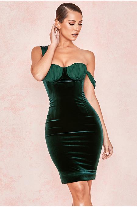 Eleanora Evergreen Velvet Balcony Cup Dress