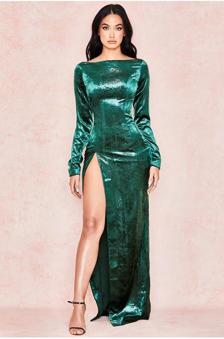 Iva Emerald Velvet Thigh Split Maxi