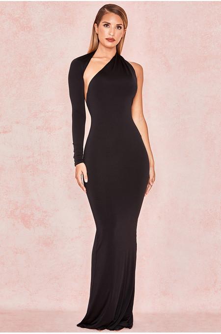 Merveille Black Wrap Sleeve Maxi Dress