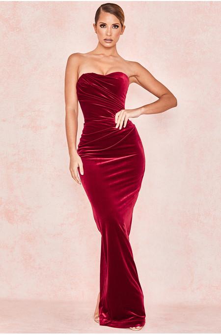 Rehana Wine Red Velvet Ruched Strapless Dress