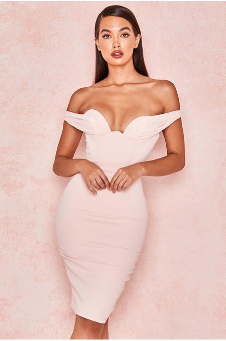 Yolanda Pale Pink Push Up Bust Dress