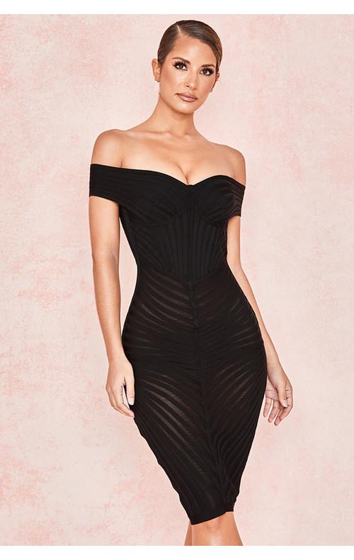 Camellia Black Off Shoulder Mesh + Bandage Dress