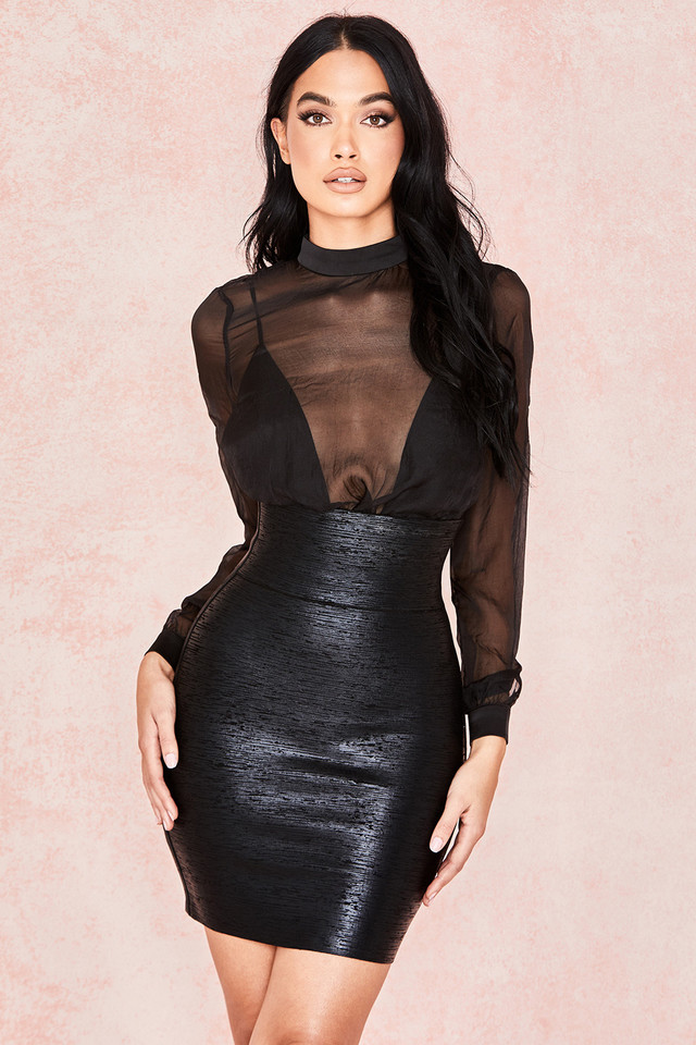 Aione Black Foil Bandage Mini Skirt