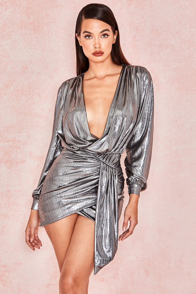 'Alvona' Metallic Silver Drape Mini Dress