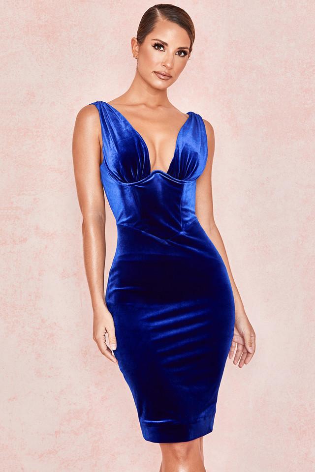 Aneka Cobalt Blue Velvet Plunge Corset Dress