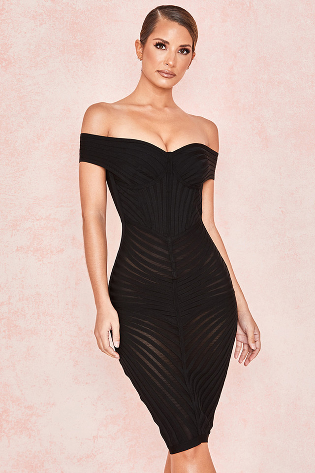 Camellia Black Off Shoulder Mesh + Bandage Dress