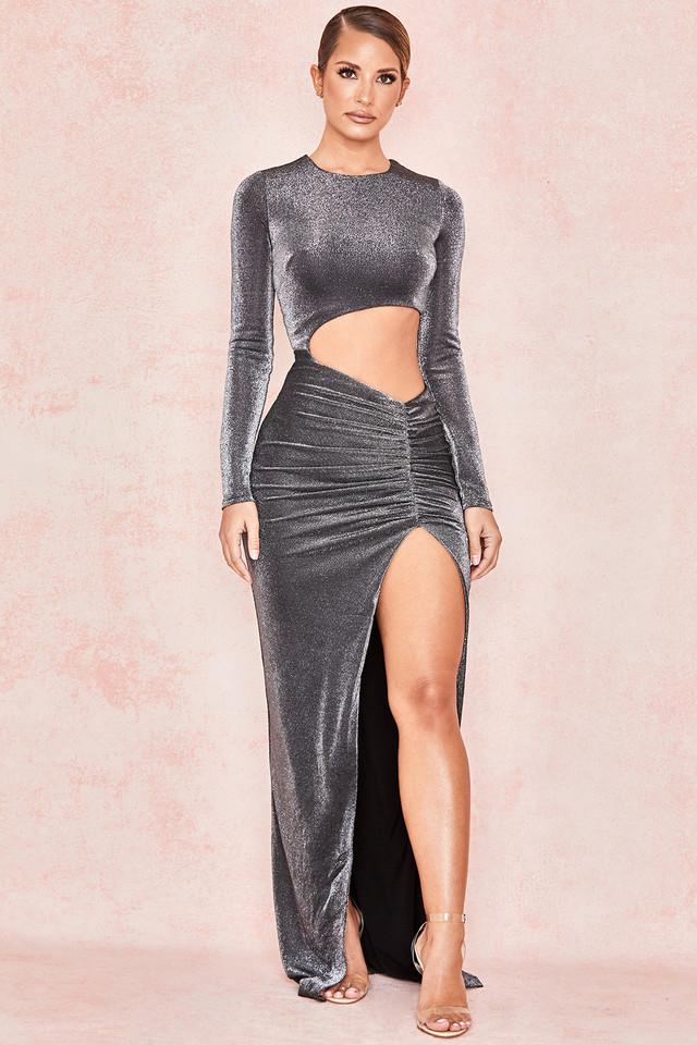 Castala Silver Sparkly Cut Out Maxi dress