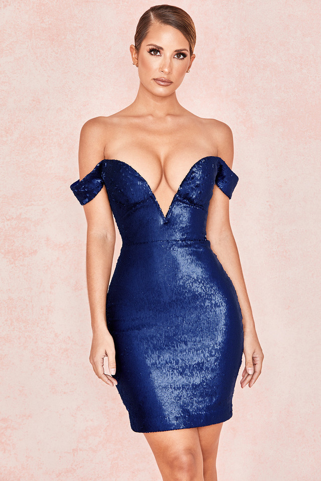 Dante Navy Sequin Bardot Dress