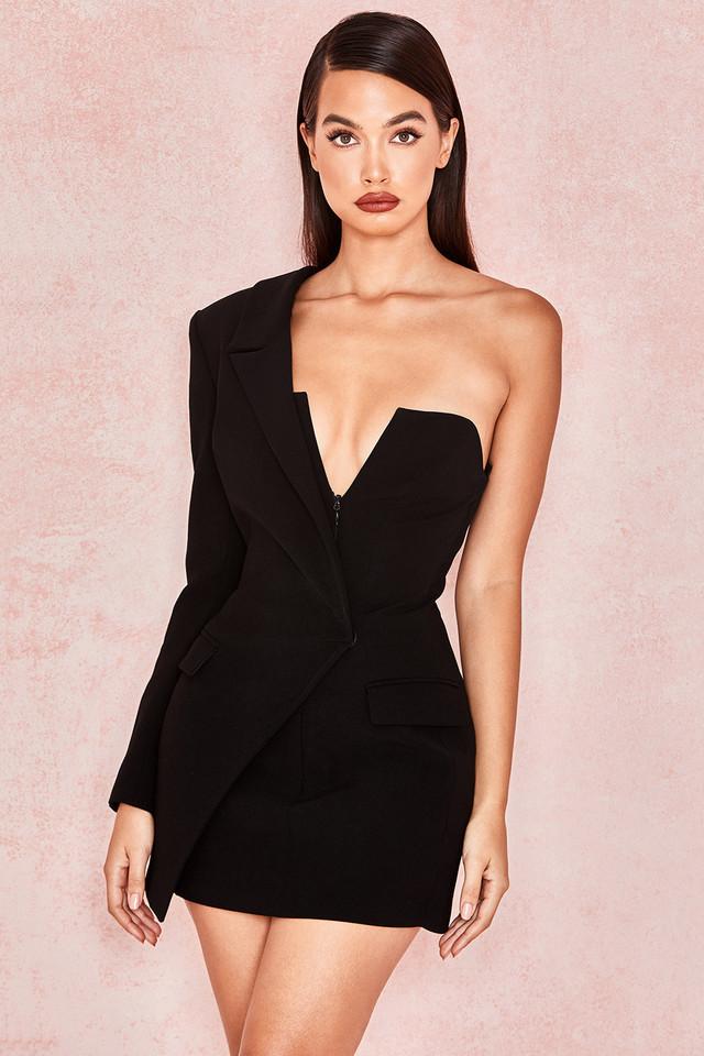 Febe Black Crepe One Sleeved Tuxedo Dress