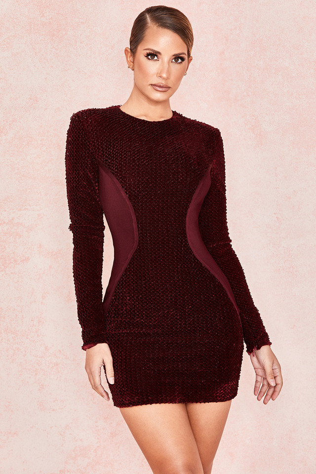 Kae Wine Velvet Sequin Long Sleeve Dress