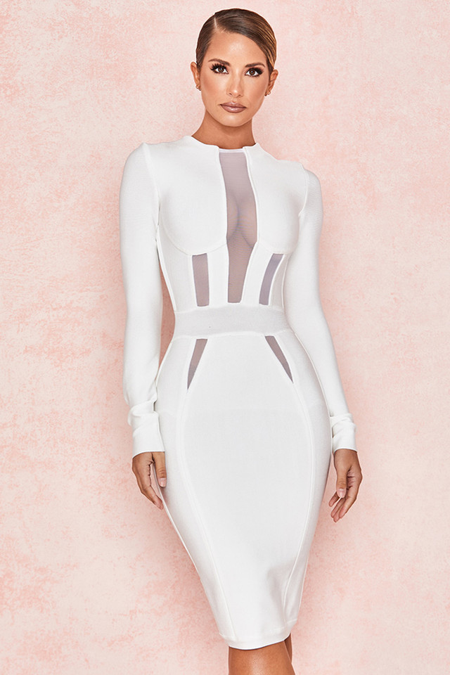 Lilya White Mesh Panel Bandage Dress