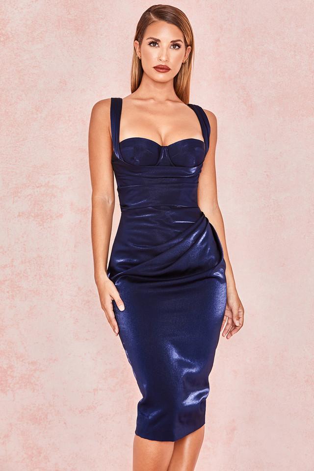 Loulou Metallic Navy Corset Drape Dress