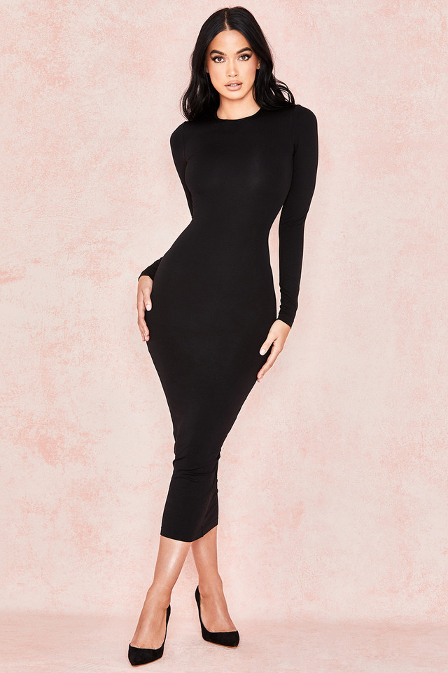Lucia Black Midi Length Knit Dress
