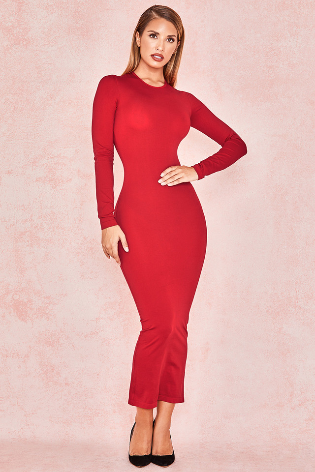 Lucia Red Midi Length Knit Dress
