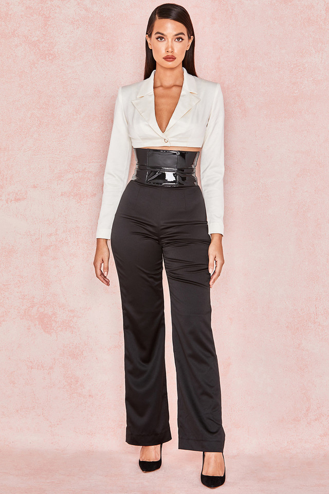Meisha Black Stretch Satin High Waist Trousers