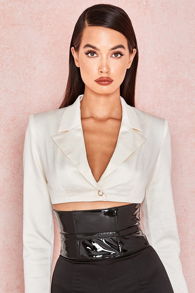 Miguelina Ivory Satin Cropped Jacket
