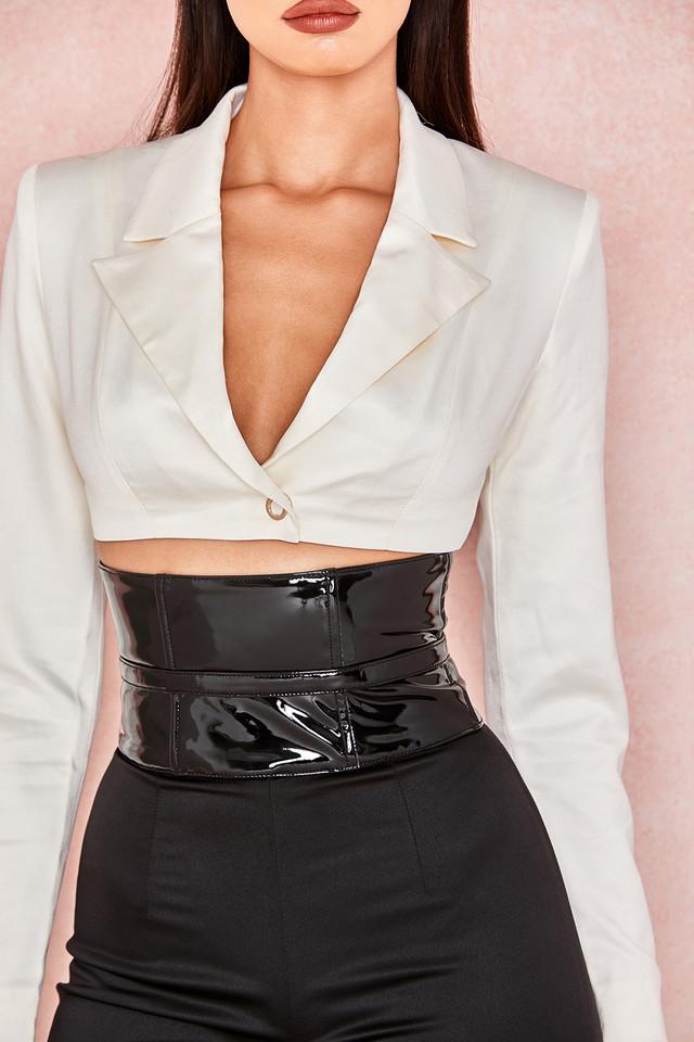 Malvina Black Patent Wide Waist Cincher Belt