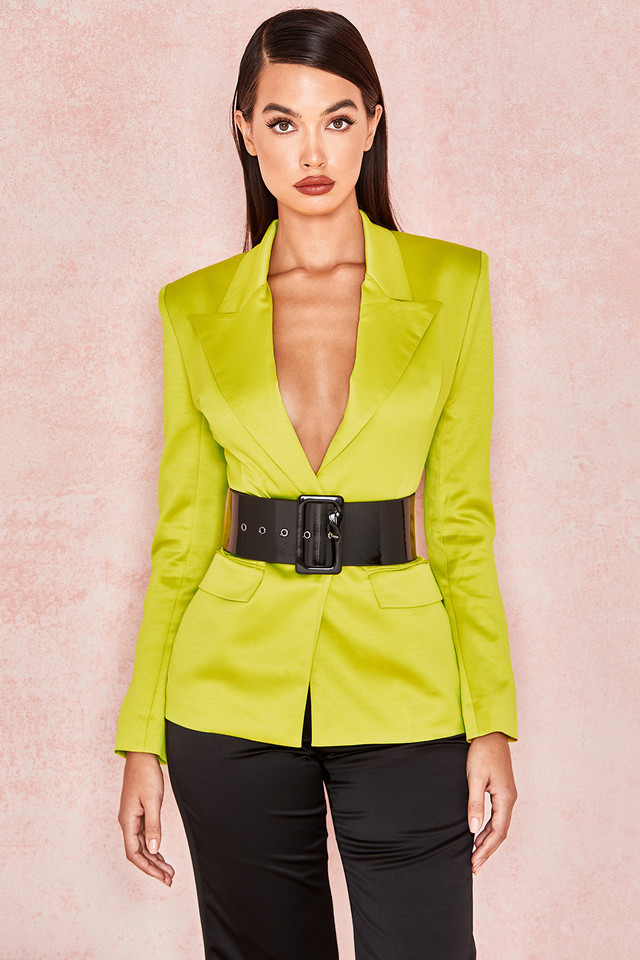 Fionella Chartreuse Satin Tailored Tux Jacket