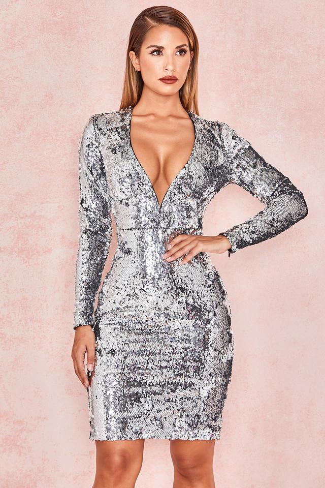 Robina Silver Sequin Plunge Neck Dress