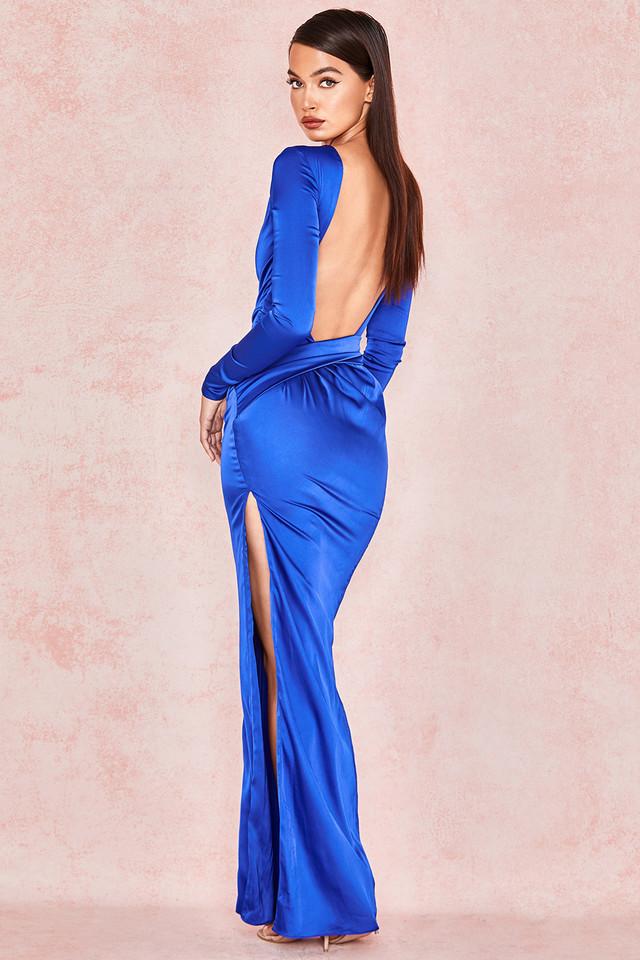 Salome Electric Blue Satin Open Front Maxi Dress