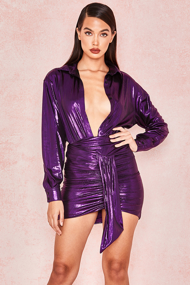 Roxanne Purple Metallic Plisse Shirt