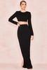 Lavande Black Stretch Crepe Maxi Skirt