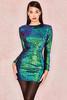 Cristobal Petrol Velvet Sequin Dress