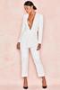 Odelia White Plunge Drape Jumpsuit