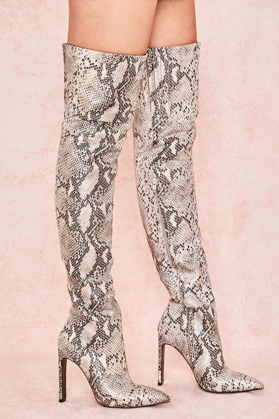 Dancer Snakeskin Thigh High Boots