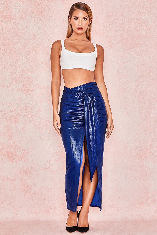 Florinda Metallic Sapphire Wrap Drape Skirt