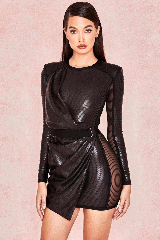 Viktoria Black Matte Sequin Draped Dress