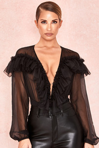 Anaya Black Ruffle Plunge Bodysuit