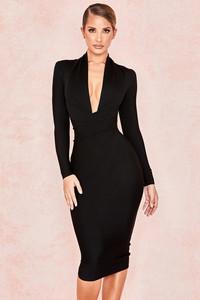 Francesca Black Draped Bandage dress
