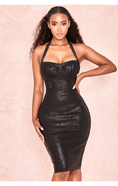 Mariella Black Wetloook Halter Bandage Dress