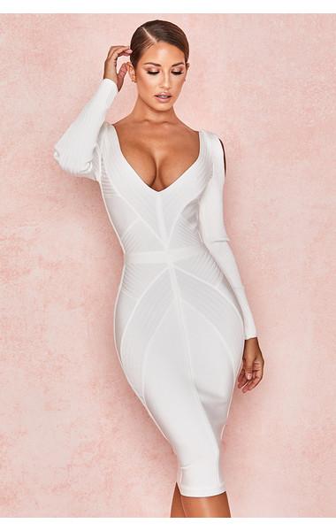 Raffaella White Ribbed Bandage Cold Shoulder Dress