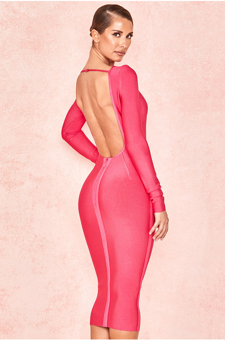 Antonia Hot Pink Backless Bandage Dress