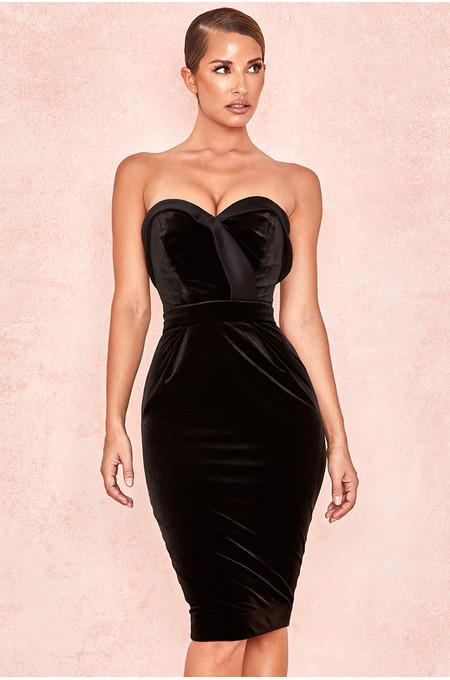 Ayla Black Velvet Satin Strapless Tux Dress