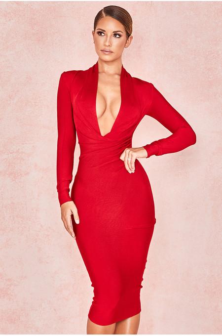 Francesca Red Draped Bandage dress