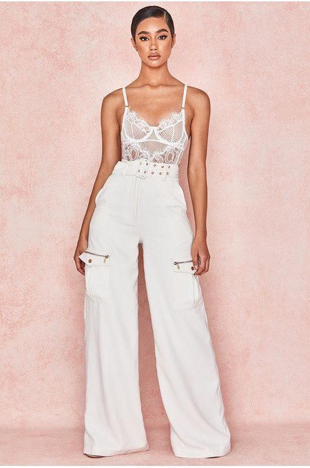 Lucille White Wide Leg Crepe Trousers