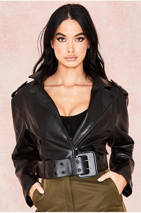 Marin Black Vegan Leather Cropped Belted Jacket