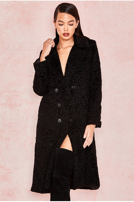 'Polar' Black Faux Fur Sherpa Coat