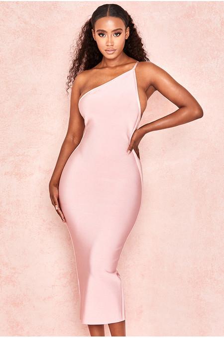 Sasha Pink One Shoulder Bandage Dress